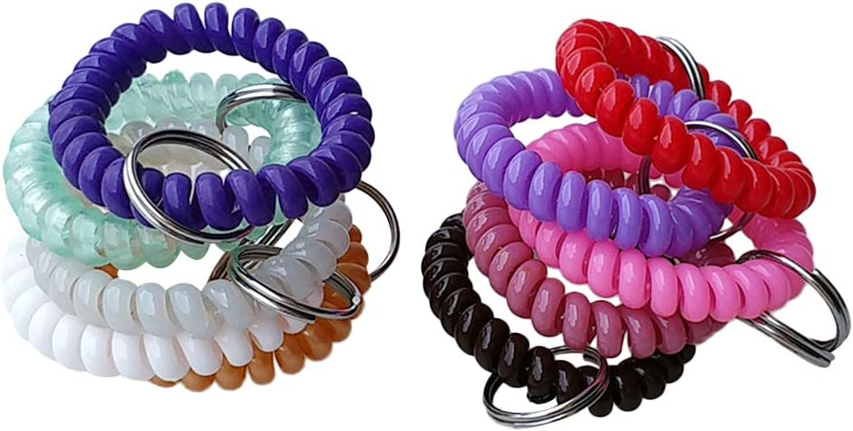 Baoblaze 10er Pack Spiral Schl/üsselanh/änger Spiralarmband Fitness Armband f/ür Sport Sauna Schwimmbad