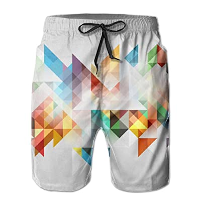 Men's Shorts Swim Beach Trunk Summer Colorful Geometry Abstract Athletic Fashion Shorts With Pockets