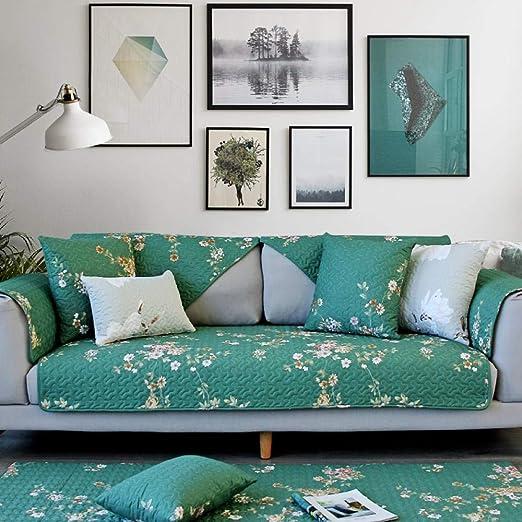 YTSM Fundas Sofa Chaise Longue,Cojín de sofá de algodón Tela Antideslizante Funda de sofá Cuatro Estaciones decoración de sofá de Sala de Estar Universal-Flor esmaltada_70 * 210cm(1PCS): Amazon.es: Hogar