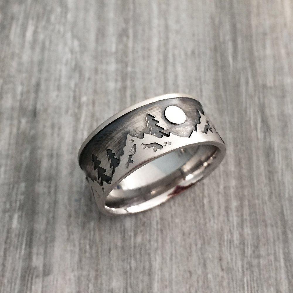 Sterling Silver Mountain Ring, Men's Mountain Wedding Ring, Nature Wedding Ring