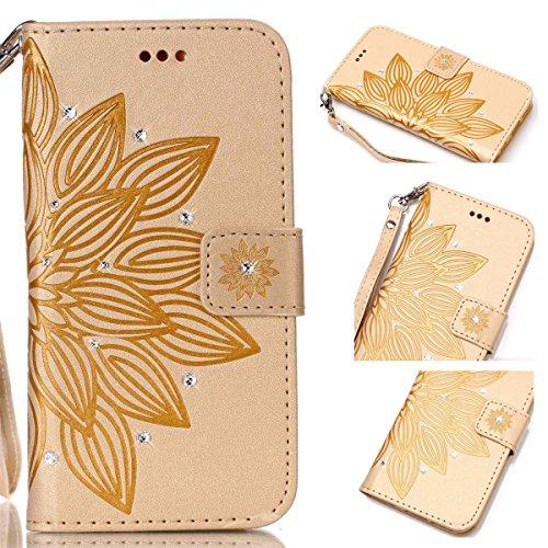 Funda Galaxy S4, Carcasa Plegable para Galaxy S4, Funda de piel Samsung i9500, Lifetrut Sólido Shiny Sparkle libro de estilo funda de cuero con ranura para tarjetas de cierre magnético soporte funda d E205-Flor en amarillo
