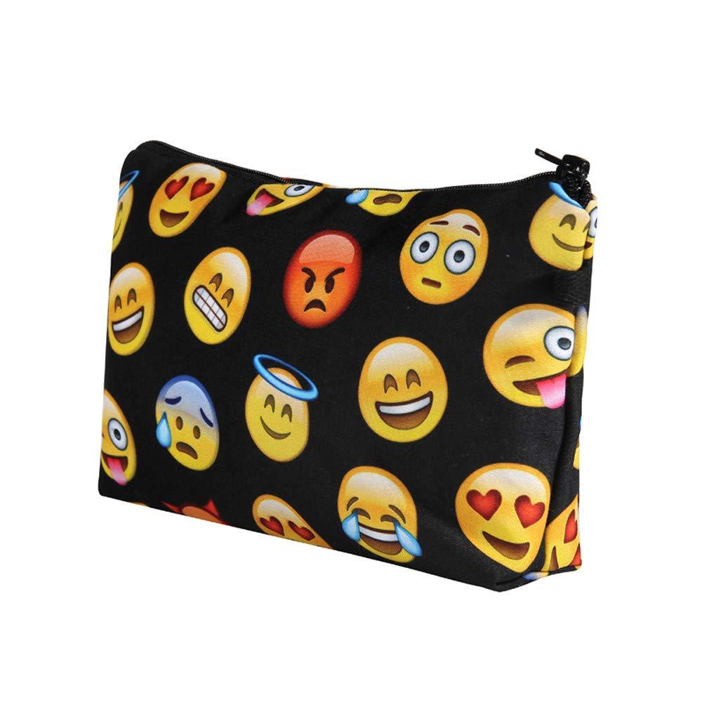 Cosmetic Bag Set,Emoji Black Smileys Make Up Bag Cover Case Cosmetics School Pencil Hipster,Cosmetic Bags
