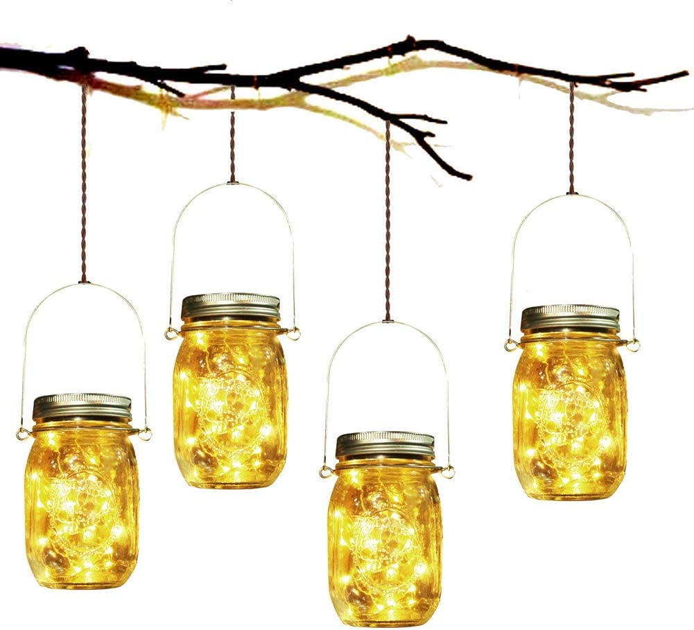 4Pack Solar Mason Jar Lights, Solar Lantern 30Leds Outdoor Glass Hanging String Lamp, Fairy Decoration for Garden Patio Yard Home