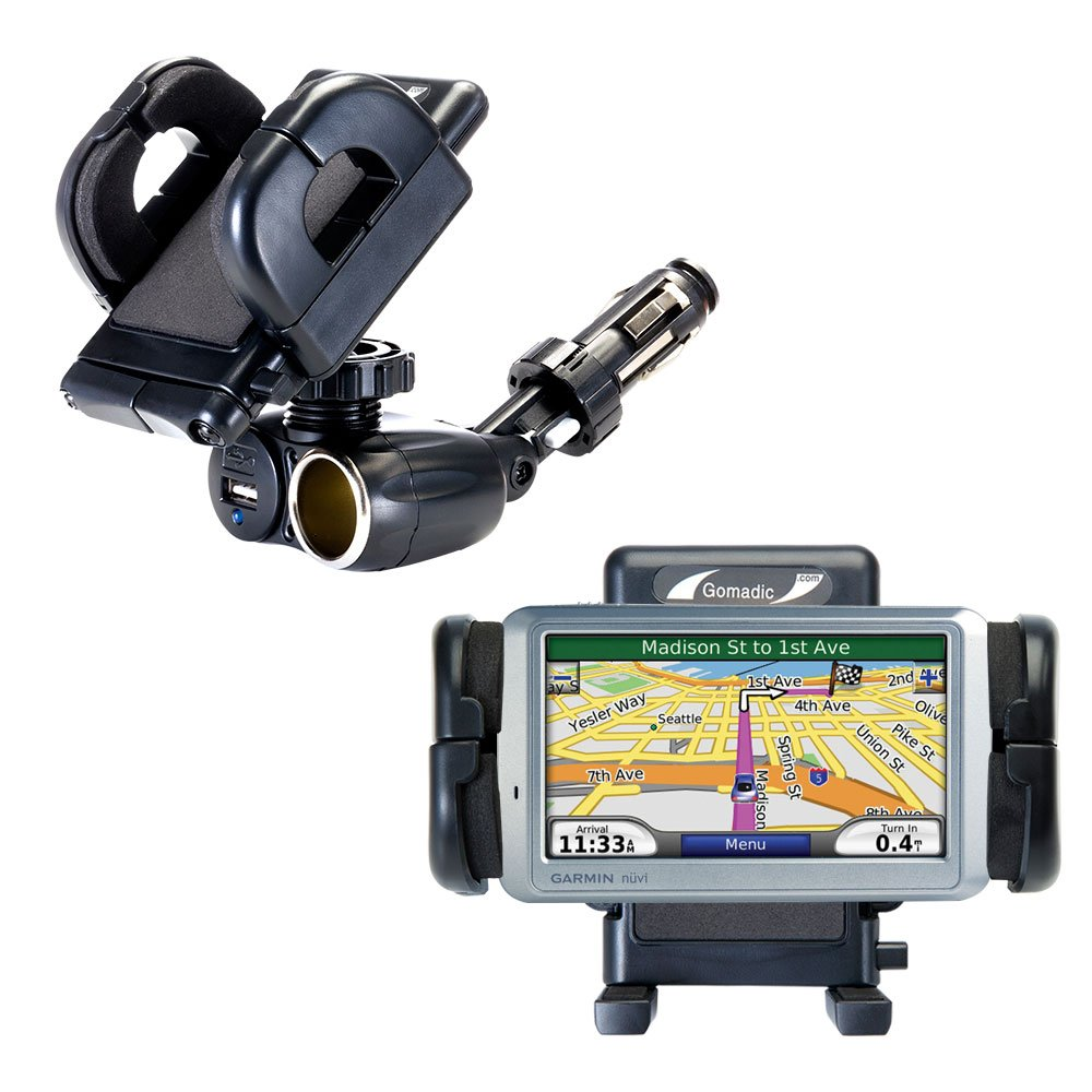 Dual Car Cigarette Lighter Charger Mount and Holder for the Garmin Nuvi 750 Features 12V Adapter and Charging USB Port