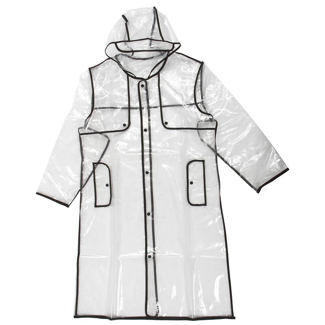 Naliovker Moda Donna Trasparente Eva Antipioggia Viaggi allaperto Impermeabile Cappotto di Pioggia Nero 130cm
