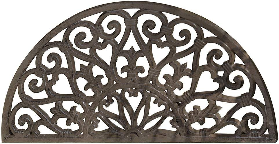 Dibor Antique Brown Ornate Semi Circular Crescent Scrolled Cast Iron Doormat