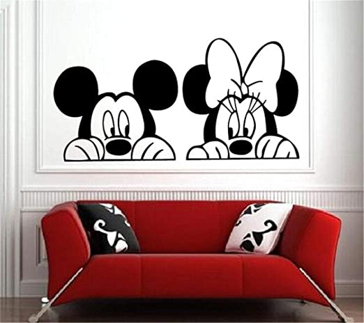 Amazon Com Wikaus Mickey Minnie Mouse Wall Art Decal Sticker