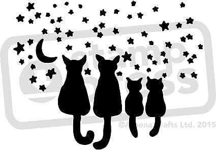 Stamp Press A3 Gatos de la Estrella Plantilla de Pared / Estarcir (WS00010071): Amazon.es: Juguetes y juegos