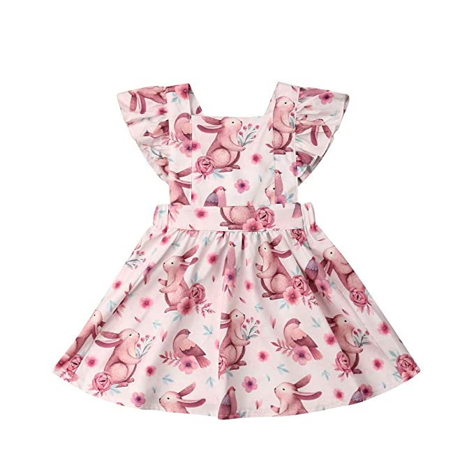 501e60c270c Amazon.com  Toddler Baby Girl Easter Clothes Floral Ruffle Fly Sleeve Bunny  Print Princess Dress Girls Summer Outfit  Clothing