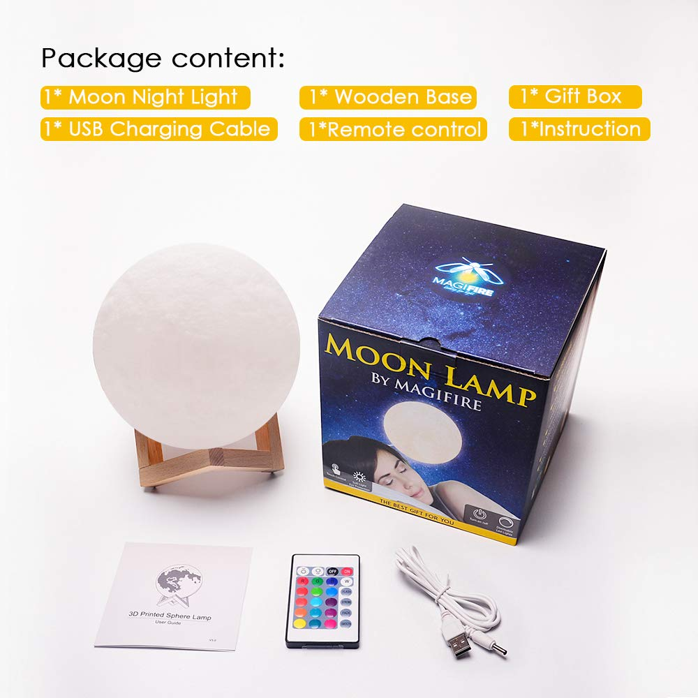 Moon Lamp 3D Printing Moon Light Brightness Gift for Valentines Day Touch/&Tap Control MAGIFIRE Night Light 5.9 2 Colors Without Remote Control