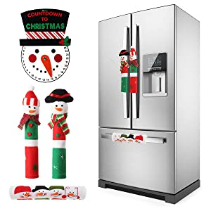 MSDADA Adorable Snowman Refrigerator Handle Covers Set & Snowman Countdown Calendar,Fits Standard Size Kitchen Appliance Microwave Oven Door For Christmas New Year Holiday Decorations (4pcs)