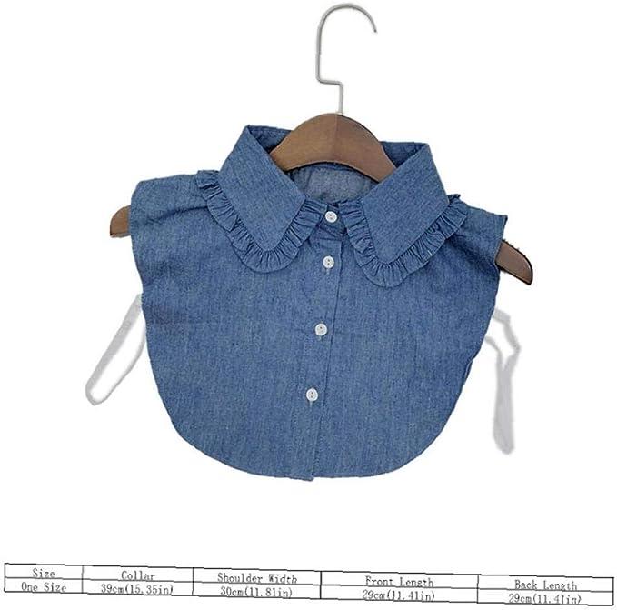 Collar Falso Desmontable Dril De Algodón De Cuello De La Blusa La Mitad De Collar De Las Camisas Falso por Muchachas De Las Mujeres: Amazon.es: Ropa y accesorios