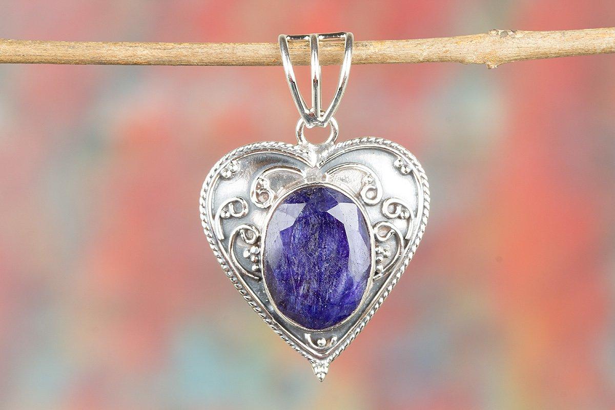 Sapphire Pendant, Heart Shape Pendant, Oval Blue Sapphire Pendant, Birthday Gift for Her, Sterling Silver, September Birthstone Pendant, Genuie Sapphire Pendant, Anniversary Pendant