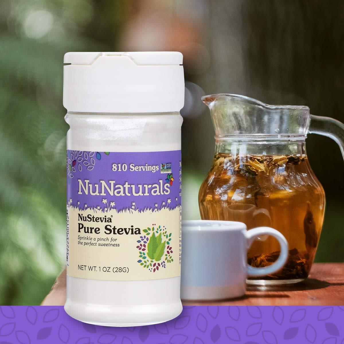 NuNaturals Pure White Stevia Extract Powder All Purpose Natural Sweetener, Sugar-Free, Zero Calorie (1 oz)