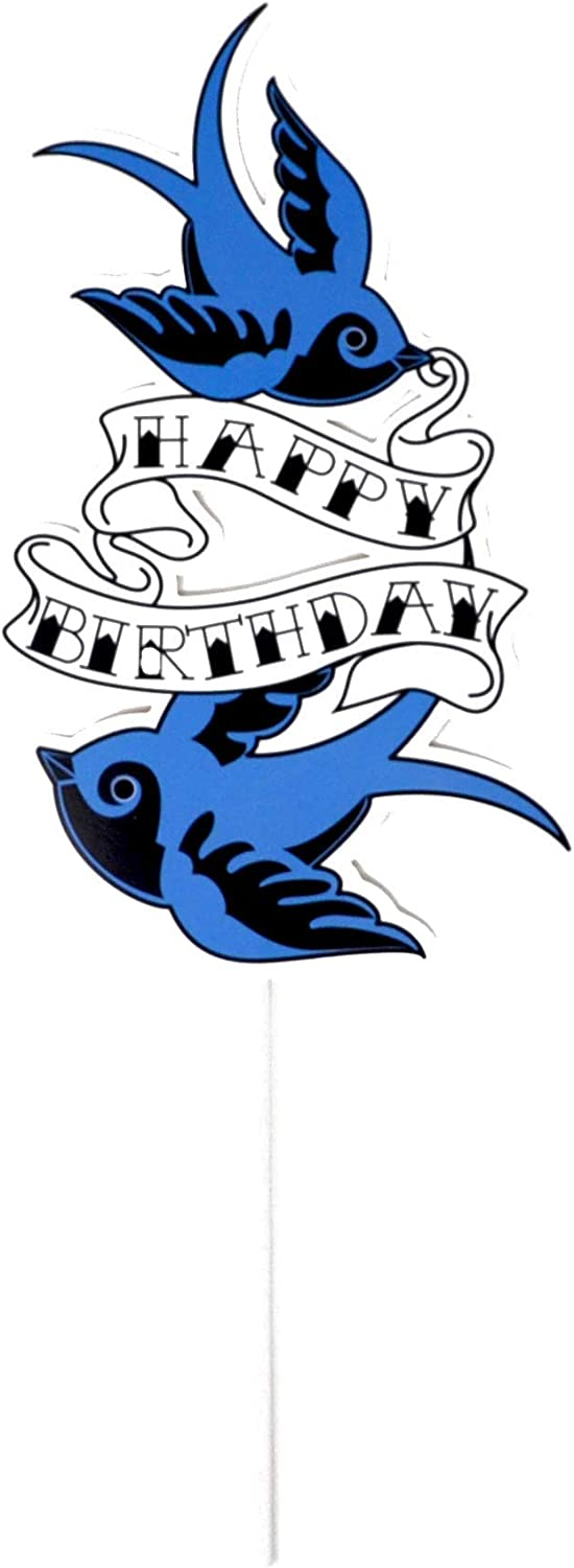 All Things Rockabilly Swallow Bird Birthday Cake Topper for 1950/'s Birthday Theme or Bird Birthday Party Decorations