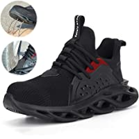 Men'S Steel Toe Cap Safety Protection Shoes, Lightweight Breathable Insulated Industrial Sports Shoes, Fly-Woven Hiking…
