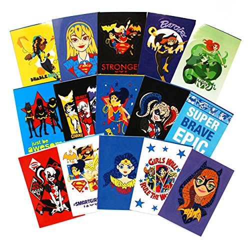 SFS Gifts DC Comics Super Hero Girls Complete Set of 15 Large Vending Stickers (Includes Wonder Woman, Supergirl, Batgirl and more)