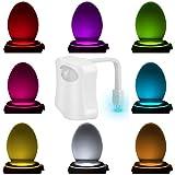 Luce Di Notte, KINGSO LED Lampada Per WC/Igienici/Ufficio/Bagno/Armadietto/Benna Locali Toilette, Sensore Di Luce Del Rivelatore Di Movimento Speciali a 8 Colori Del Cambiamento
