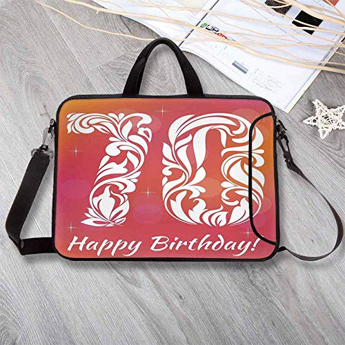 70th Birthday Decorations Anti-Seismic Neoprene Laptop Bag,Floral Detailed Happy Birthday on Abstract Round Print Laptop Bag for Travel Office School,15.4