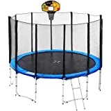 10ft Round Spring Trampoline Free Safety Outer Net Pad Mat Ladder Basketball Set