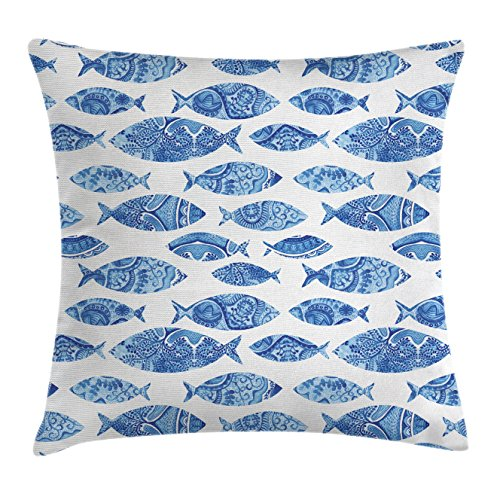 Price comparison product image Ambesonne Ocean Animal Decor Throw Pillow Cushion Cover, Fish Figures with Ancient Ottoman Ornate Mosaic Hand Drawn Marine Artwork, Decorative Square Accent Pillow Case, 18 X 18 Inches, Blue