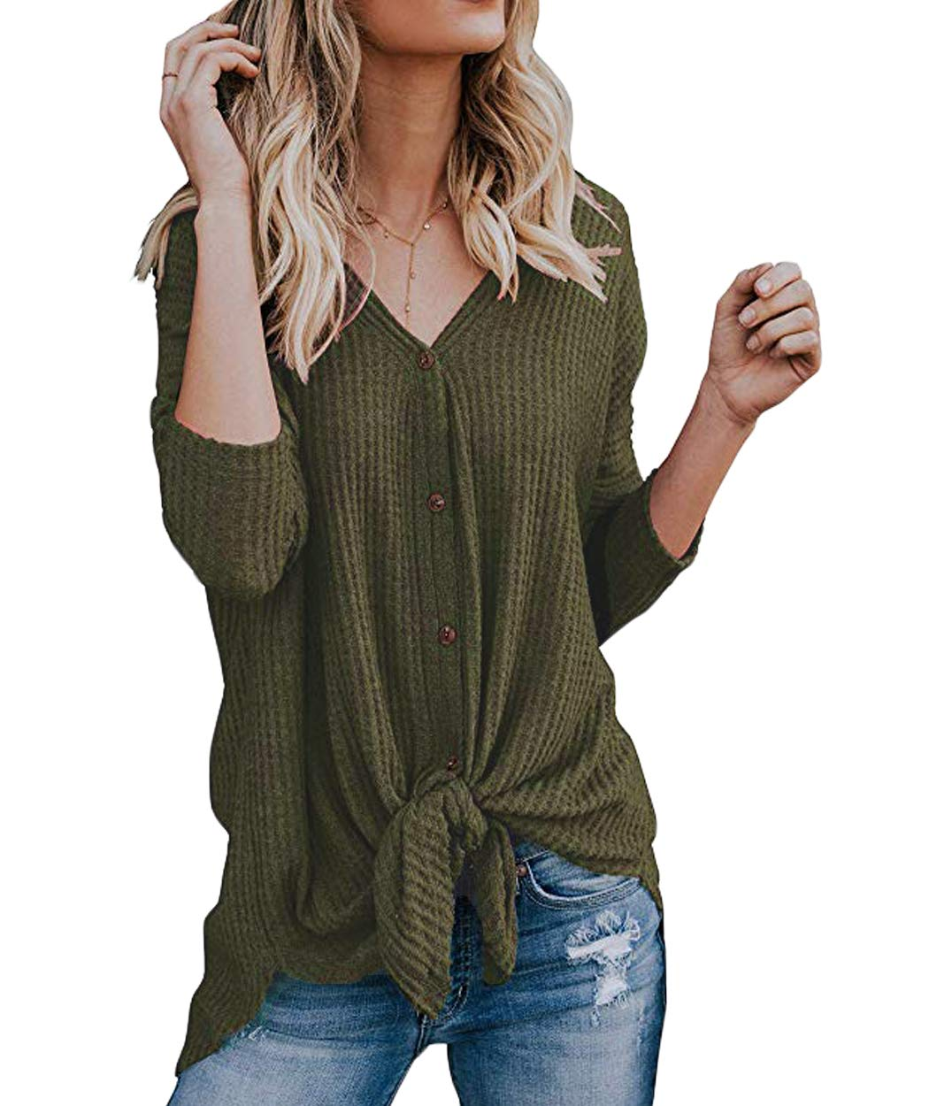 Eanklosco Tie Knot Tops Womens Waffle Knit V Neck Blouse Button Down Long Sleeve Henley Shirt (Army Green, XXL)