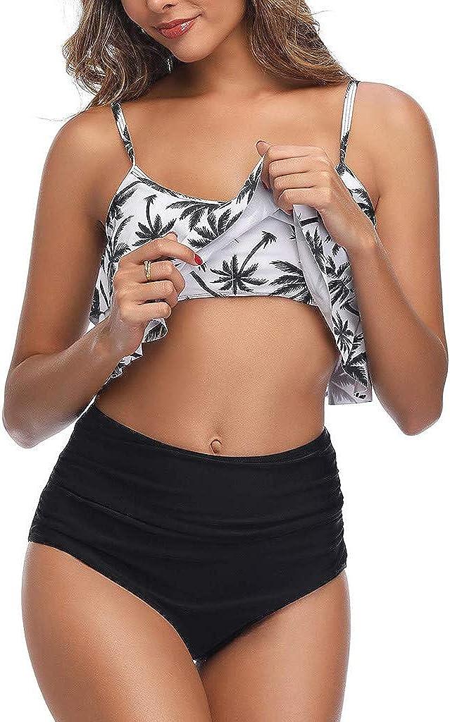 Covermason -Bikini Femme Deux pièces Halter Bandage Push Up Brésilien Bikini Floral Print Maillots de Bain Femme 2 pièces Triangle Swimwear Maillots de Bain Plage 06-gris/Foncé