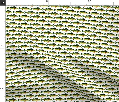 Spoonflower Perch Fabric - Yellow Fish Freshwater by Combatfish Printed on Satin Fabric by The Yard