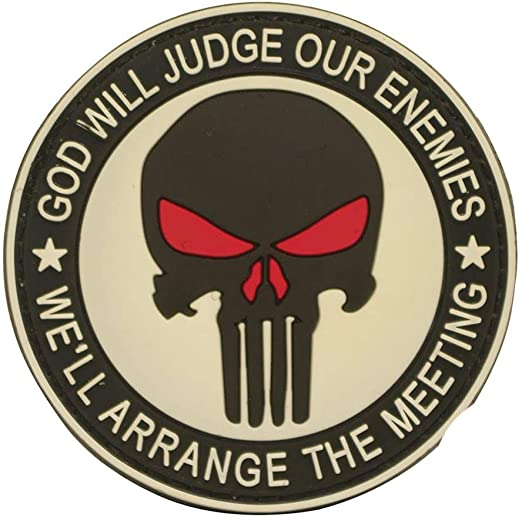 God Will Judges Our Enemies We Ll Arrange The Meeting 3d White Punisher Airsoft Pvc Patch With Velcro Alle Produkte