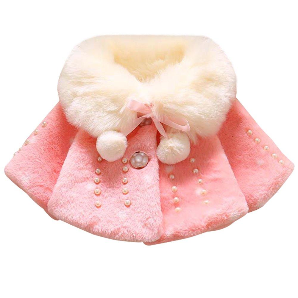 LOSORN ZPY Baby Girls Fur Winter Warm Coat Pearl Shawl Jacket Outwear