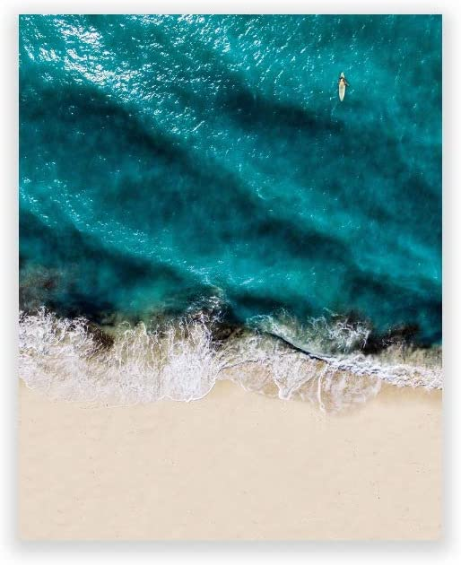 Humble Chic Ocean Wave Aerial Beach, 8x10 Vertical Wall Art Prints - Unframed HD Printed Beach Picture Poster Decorations for Home Decor Living Dining Bedroom Bathroom College Dorm Room
