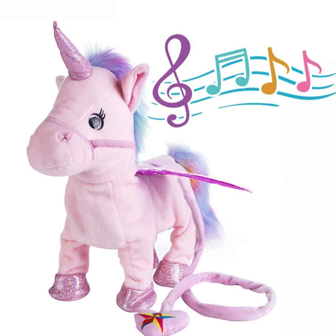 qiaoniuniu Electronic Pet Unicorn - Pink Small Pegasus - Stuffed Unicorn ,Singing Walking Musical Cute Plush Toys for Toddlers Girls Boys,Kids & Pets Birthday