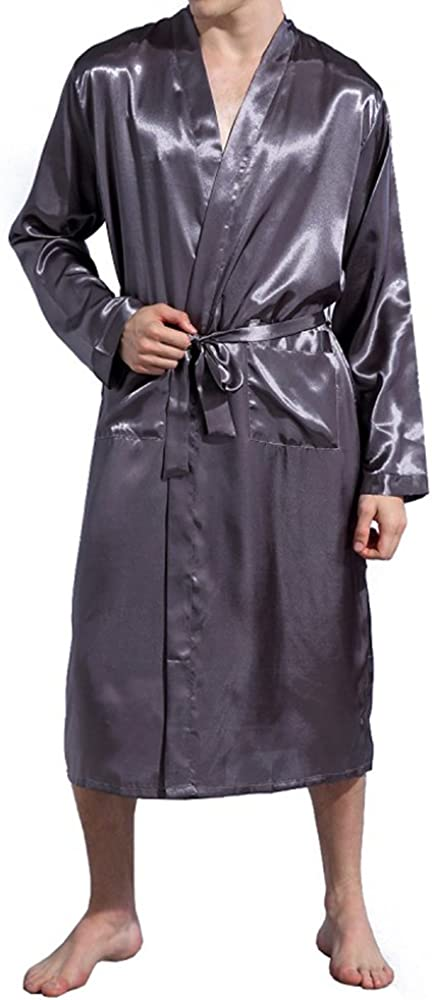 Amzchoice Men V Neck Satin Robe Kimono Long Bathrobe Lightweight Sleepwear Wedding