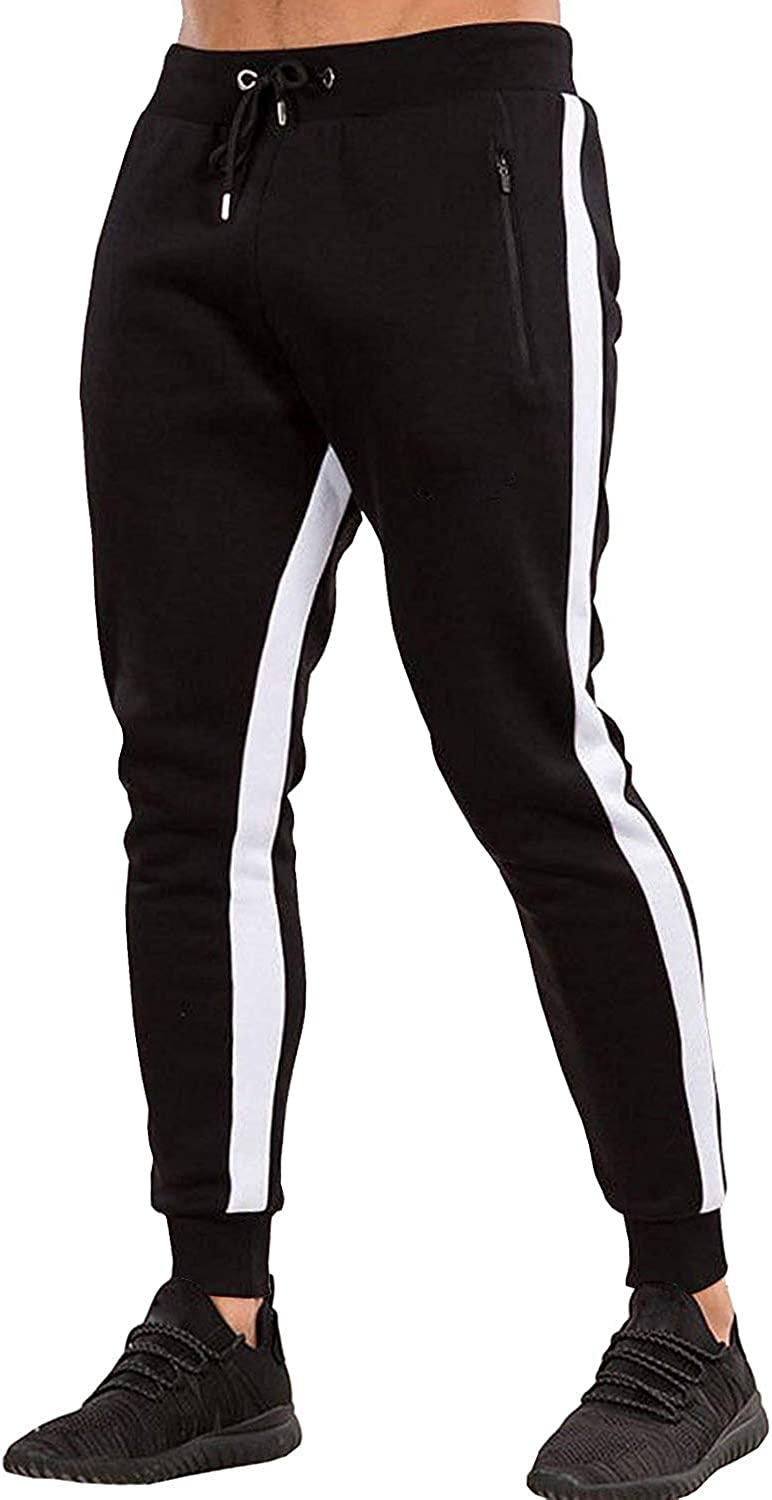 Ouber Men's Gym Jogger Pants Slim Fit Workout Running Sweatpants with Zipper Pockets: Clothing