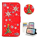 STENES iPhone 8 Plus Case - Stylish - 3D Handmade Bling Crystal Christmas Tree Snow Flowers Design Wallet Credit Card Slots Fold Stand Leather Cover for iPhone 7 Plus/iPhone 8 Plus - Red