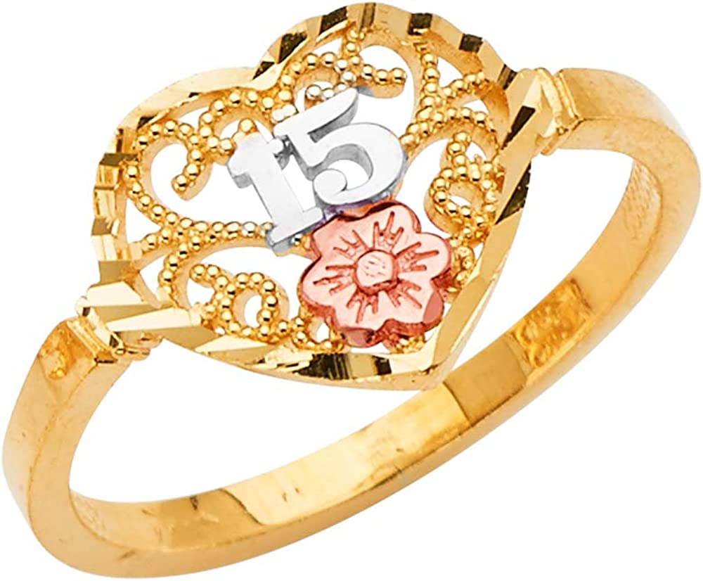 14K Solid Tri Color Gold Sweet 15 Anos 15 Years Birthday Quinceanera Heart Cut Ring Ioka