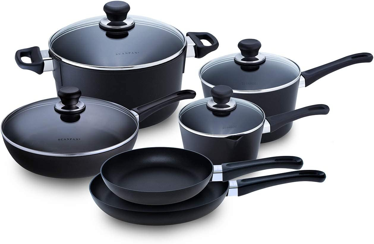 Scanpan Classic Induction Cookware Set, Set-10 Piece, Black