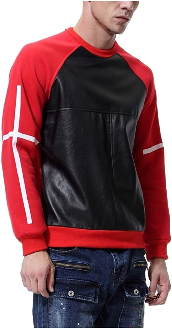 Comaba Men Luxury Leisure Round Neck Faux-Leather Patchwork Pocket Sweatshirt