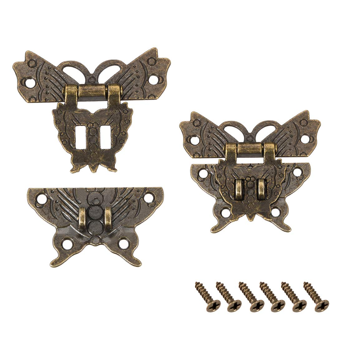 uxcell 2 Sets Wood Case Chest Box Rectangle Clasp Closure Hasp Latches Bronze Tone 51 x 43mm