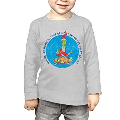 ZheuO Boys & Girls Toddler Dr Seuss The Grinch Christmas Roast Beast Soft 100% Cotton Tee Unisex Gray