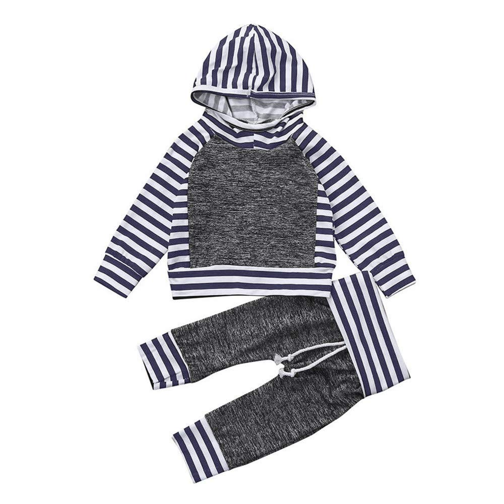 Newborn Autumn Hoodie Sets,Jchen(TM) 2pcs Toddler Baby Boys Girls Stripe Hoodie Tops+Pants Suit Outfits Clothes Set for 0-24 Months (Age: 18-24 Months)