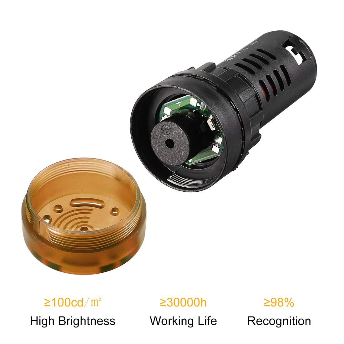 Red LED 3Pcs uxcell Signal Light AC//DC 24V Panel Indicator Flashing Alarm with Buzzer