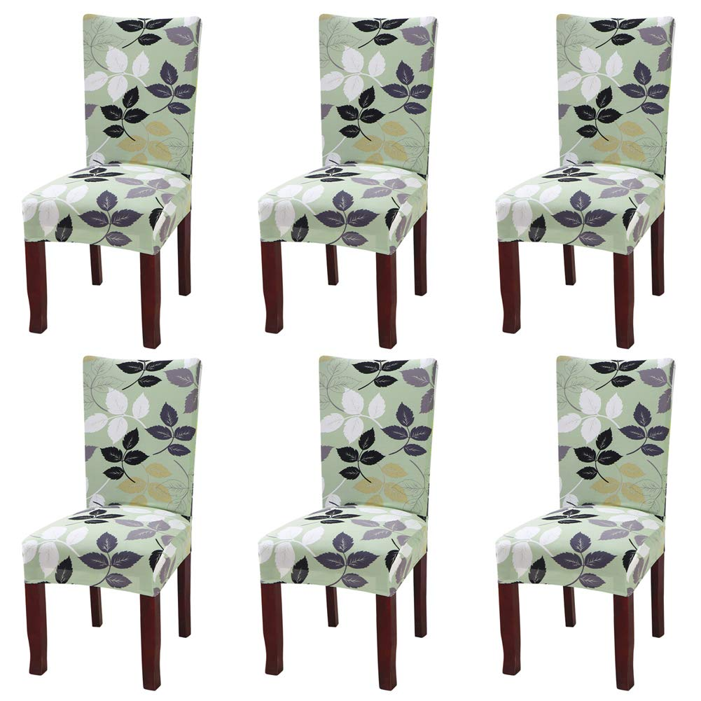 Fuloon Super Fit Stretch Jacquard Removable Washable Short Dining Chair Covers Seat Slipcover for Hotel,Dining Room,Ceremony,Banquet Wedding Party (6, E)