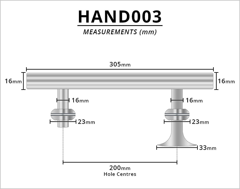 Chrom Lochabstand 305 mm lang 200 mm geeignet f/ür Duschabtrennungen Hand003 Duscht/ürgriff