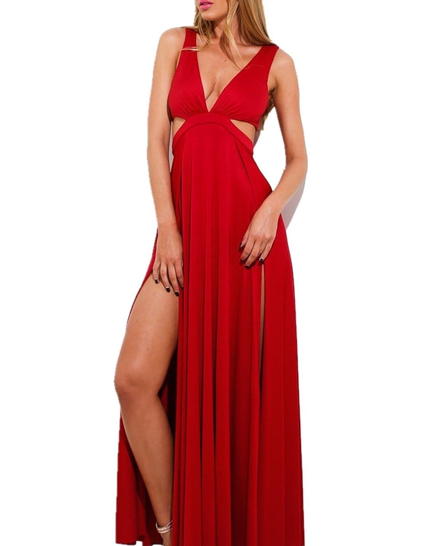 LOBTY Damen V-Ausschnitt AbendKleider Maxi Kleid Abendkleider lang A-Linie Spleiß Rot kleider Brautjungfernkleid CocktailKleider Spaltung Hohe Taillen Über 140 cm lang