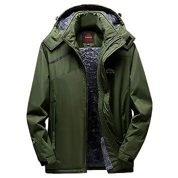 Qiusa Abrigo de Asalto de Deporte de Invierno para Cachemir Engrosamiento con Capucha con Cremallera al Aire libre0 (Color : Ejercito Verde, tamaño : 3XL): ...