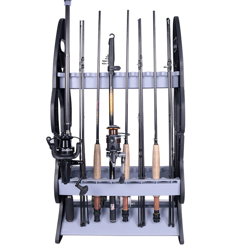 Croch 16 Fishing Rod Rack -Fishing Rod Holder Storage -Fishing Pole Stand Garage Organizer Holds Any Type of Rod or Hiking Sticks Keep It Steady