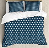 Ambesonne Star Queen Size Duvet Cover Set, Patriotic Star of The American Flag Festive Independence Themed Symbols of Freedom, Decorative 3 Piece Bedding Set with 2 Pillow Shams, Navy Blue Tan
