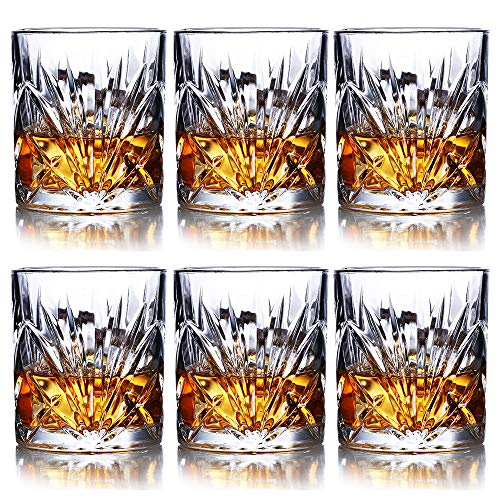 Whiskey Glasses Set of 6-10oz Premium Lead Free Crystal Whiskey Glass, Rock Style Old Fashioned Glass For Drinking Scotch, Bourbon, Cognac, Irish Whisky and Old Fashioned Cocktails (Rocks Set Glasses)