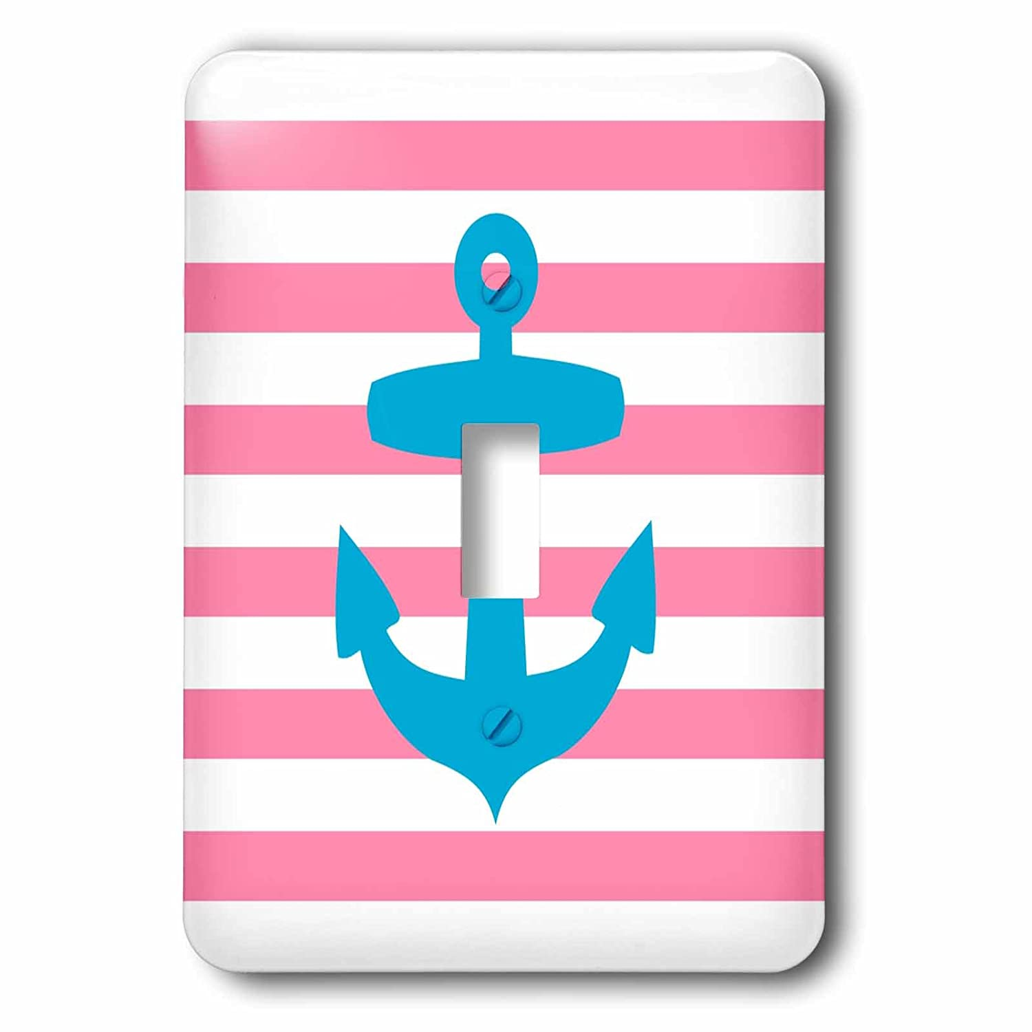 3dRose lsp_57473_1 Nautical Light Blue Anchor with Coral Red Or Pink Sailor Stripes Pattern French Breton Stripe Single Toggle Switch